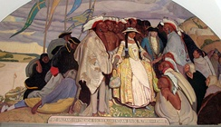 The 1725 return of an Osage bride from a trip to Paris, France. The Osage woman was married to a French soldier.