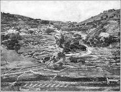 "Valley of Hinnom (or Gehenna), c. 1900. The former site of child-sacrifice and a dumping-ground for the bodies of executed criminals, Jeremiah prophesied that it would become a ""valley of slaughter"" and burial place; in later literature it thus became identified with a new idea of Hell as a place where the wicked would be punished.[72]"