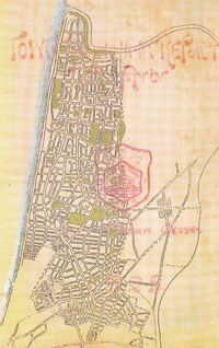 1930 Survey of Palestine map, showing urban boundaries of Jaffa (green) and the Tel Aviv township (blue) within the Jaffa Municipality (red).[17][18] The municipal area also included the Palestinian villages of Al-Jammasin al-Sharqi, Al-Mas'udiyya and Yazur – all three of which were depopulated in 1948, the German Templar colony of Sarona, the Jewish settlement of Montefiore, and the agricultural school of Mikveh Israel.