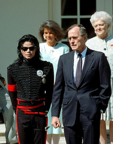 Jackson and President George H. W. Bush at the White House on April 5, 1990. It was the second time that Jackson had been honored by a President of the United States.