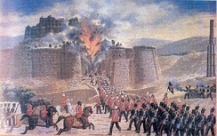 The fort of Ghazni which fell as a result of mining by a mixed contingent of the Bombay and Bengal Sappers during the First Afghan War on 23 July 1839.