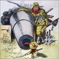 "1903 cartoon, ""Go Away, Little Man, and Don't Bother Me"", depicts President Roosevelt intimidating Colombia to acquire the Canal Zone"