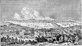London, as it appeared from Bankside, Southwark, During the Great Fire — Derived from a Print of the Period by Visscher