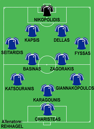 Greece line-up in Euro 2004
