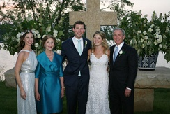 Barbara Bush (left), Laura Bush, newlyweds Henry and Jenna Hager, and George W. Bush shortly after the wedding ceremony on May 10, 2008, at the Prairie Chapel Ranch near Crawford, Texas