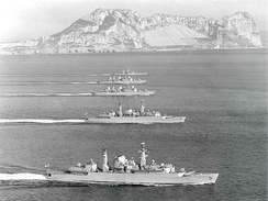 Some of the Advanced Group, pennants painted over, off Gibraltar March 1982.