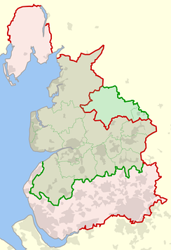 The historic boundaries of Lancashire (red) compared with the modern ones (green).
