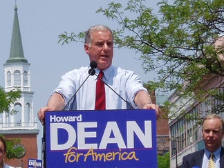 "Howard Dean declared his candidacy on June 23, 2003, winning the MoveOn ""primary"" days later. His campaign would go on to lead most polls and raise the most money in the latter part of 2003."
