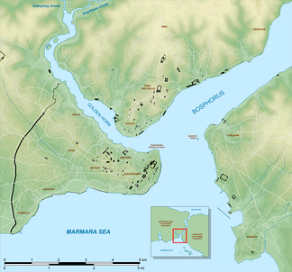 Map of Istanbul's Historic Peninsula (lower left), showing the location of the Golden Horn and Sarayburnu (Seraglio Point) in relation to Bosphorus strait, as well as historically significant sites (black), and various notable neighborhoods