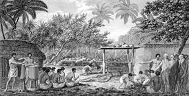 Illustration from the 1815 edition of Cook's Voyages, depicting Cook watching a human sacrifice in Tahiti c. 1773