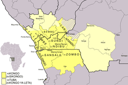 Map of the area where Kongo and Kituba as the lingua franca are spoken