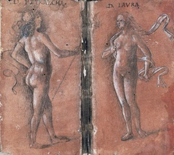 Sketch of Petrarch and his Laura as Venus (ca. 1444)