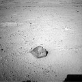 """Jake Matijevic"" rock on Mars – a prime test target of the Curiosity rover (September 19, 2012)."