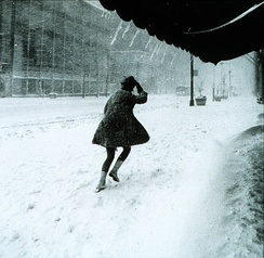 A street in New York City during the storm. This scene is in Manhattan, 1969.