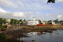 Moroni, capital of the Comoros, with Harbor Bay and Central Mosque