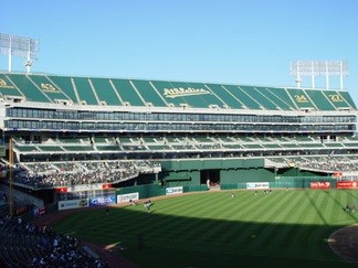 Oakland Coliseum's Mount Davis, the unused seats covered by tarps
