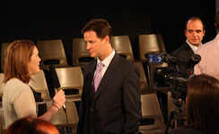 Nick Clegg at Cardiff University Students' Union conducting an interview with CUTV in 2010