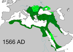 The extent of the Ottoman Empire in 1566, upon the death of Suleiman the Magnificent