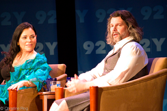 Ronald D. Moore (right) is the developer and showrunner of the TV series, which is based on the novel series of the same name written by Diana Gabaldon (left).