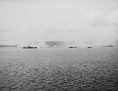 Bombardment of Guam on 14 July 1944 before the battle, as seen from the New Mexico