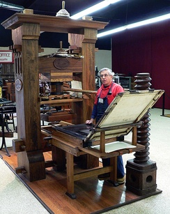 Replica of the Gutenberg press at the International Printing Museum in Carson, California