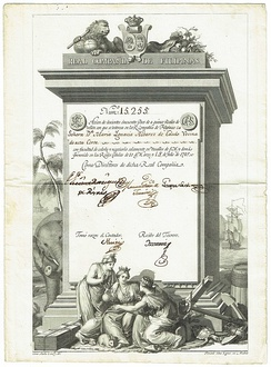 Share of the Real Compañia de Filipinas (Royal Philippine Company), issued 15. July 1785