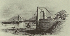 The suspension bridge over the Tees