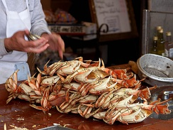 Dungeness crab ready to eat at Fisherman's Wharf in San Francisco