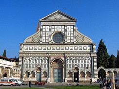 Facade of Santa Maria Novella, Florence, 1470. The frieze (with squares) and above is by Leon Battista Alberti.