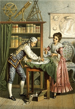 William and Caroline Herschel polishing a telescope lens (probably a mirror); 1896 lithograph