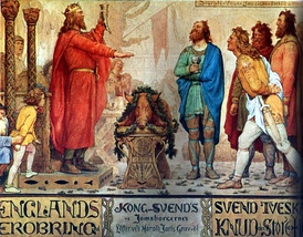Sweyn and the Jomsvikings at the funeral ale of his father Harald Bluetooth. Painting by Lorenz Frølich, c. 1883–86, Frederiksborg Castle.