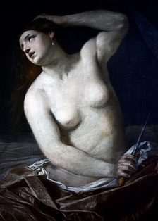 A painting of Lucretia, the ideal Roman woman from the Roman tale, The Death of Lucretia.