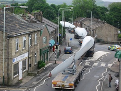 A turbine blade convoy passing through Edenfield, England