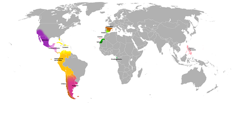 A world map attempting to identify the main dialects of Spanish.