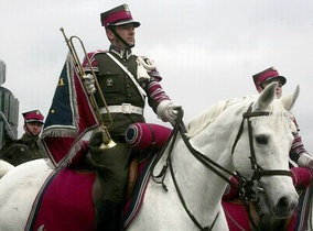 A trumpeter of the Representative Cavalry Squadron in the Polish Army.