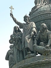 Vladimir the Great on the Millennium of Russia monument in Novgorod