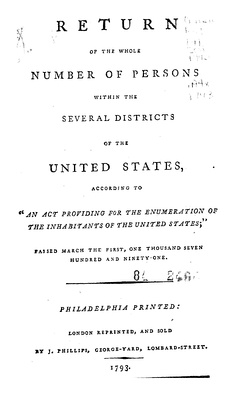Title page of 1790 United States Census