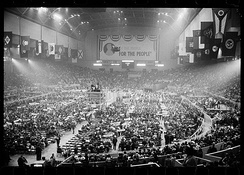Governor Mark Hatfield appears before the convention in the Cow Palace