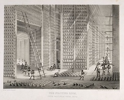Storage of opium at a British East India Company warehouse, c. 1850
