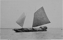 Filipino casco with a junk rig in the Manila Bay (c. 1906)