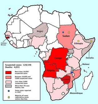 Map of the 2008–2009 cholera outbreak in sub-Saharan Africa showing the statistics as of 12 February 2009