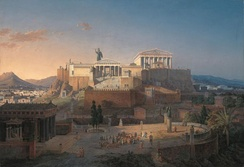 Idealized reconstruction of the Acropolis and Areios Pagos in Athens, Leo von Klenze, 1846.