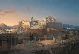Reconstruction of the Acropolis and the Areopagus in Athens, painted by Leo von Klenze in 1846