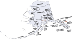 An enlargeable map of the boroughs and census areas of the state of Alaska