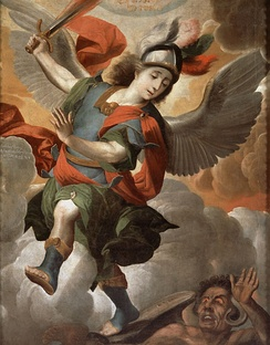 Michael archangel by an anonymous Bolivian painter (1708)