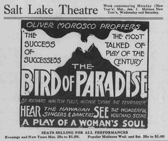 "An advertisement for the Broadway show ""The Bird of Paradise"""