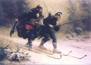 Loyal retainers transporting Prince Haakon IV of Norway to safety on skis during the winter of 1206—1869 depiction by Knud Bergslien.