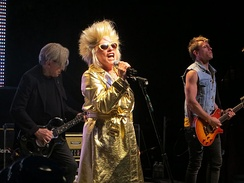Chris Stein, Debbie Harry, and Tommy Kessler perform at the Mountain Winery in Saratoga, California in 2012.