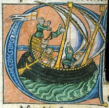 Dagobert sailing in a ship flying the cross of St George