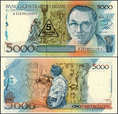 A 1989 Brazilian banknote featuring Portinari on both sides